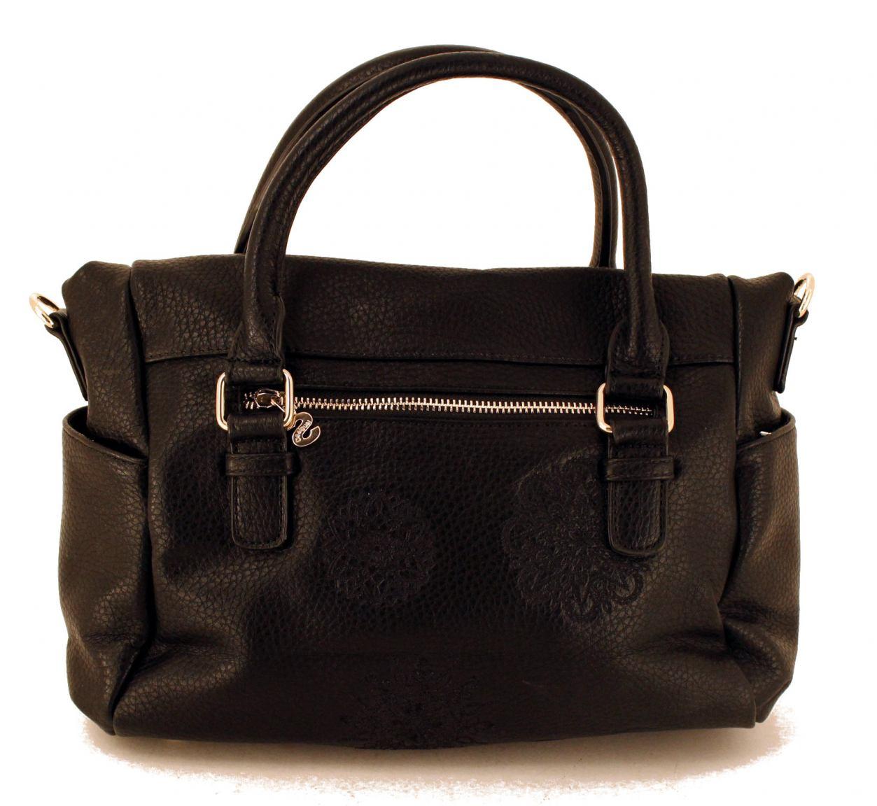 f3f5ea91efabf Desigual Henkeltasche Dark Amber Loverty schwarz bestickt - Bags   more
