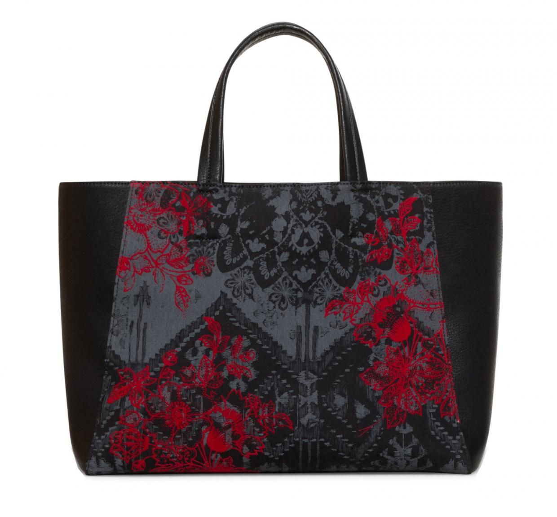 5892424b7753f Tote Bag Desigual Cuenca bestickt Flockdruck Red Queen schwarz ...
