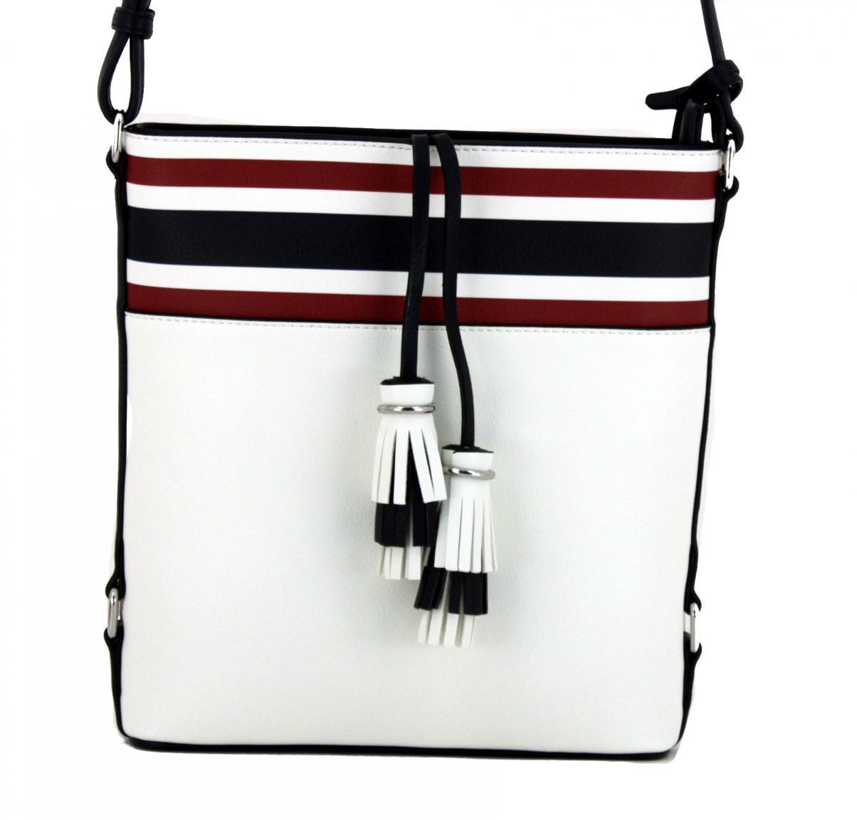 Crossbody Bag L.Credi Cristen weiß rot blau Fransenanhänger