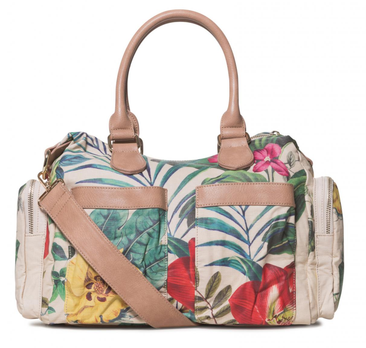 Henkeltasche Desigual Clio London Medium beige Blumen