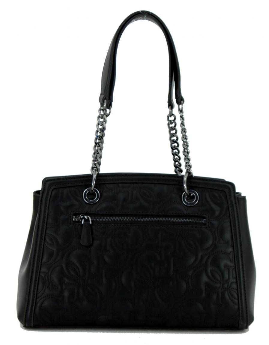 Damenhandtasche schwarz Logo Zipper Guess New Wave Black