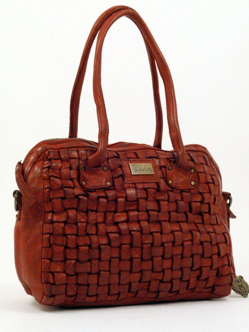 bear bags flecht leder tasche rot bags more. Black Bedroom Furniture Sets. Home Design Ideas