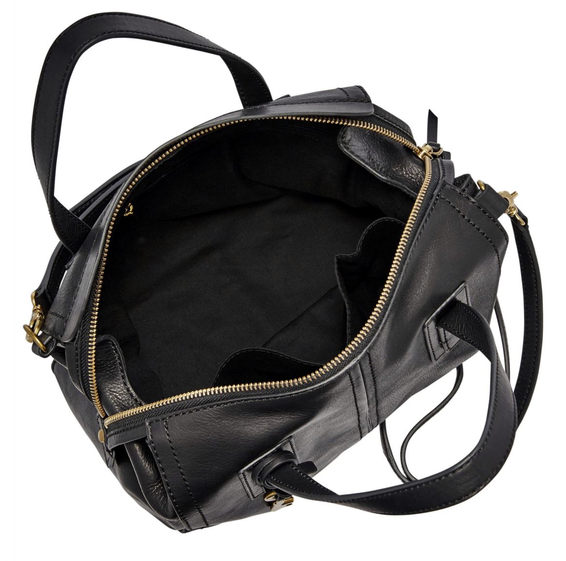 fossil emma satchel henkeltasche leder schwarz black bags more. Black Bedroom Furniture Sets. Home Design Ideas