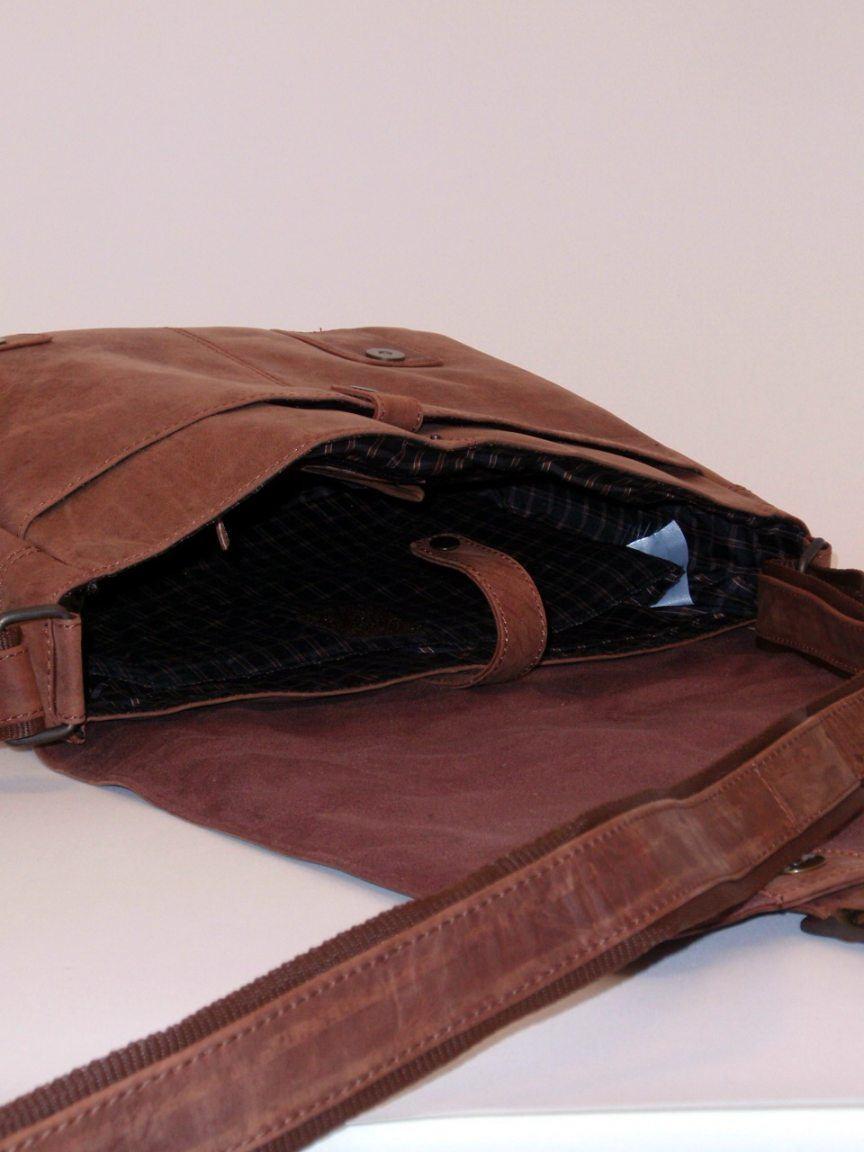 Aktentasche A4 Portobello Leder Überschlag schwarz