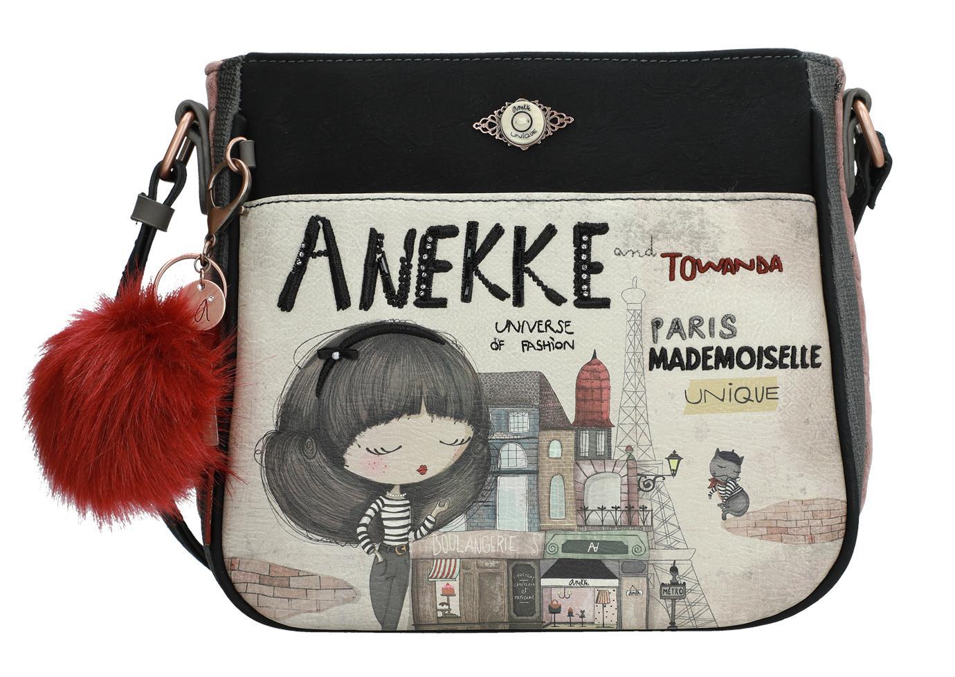 Anekke Couture Umhängetasche Mädchen Paris Samt Fellbommel