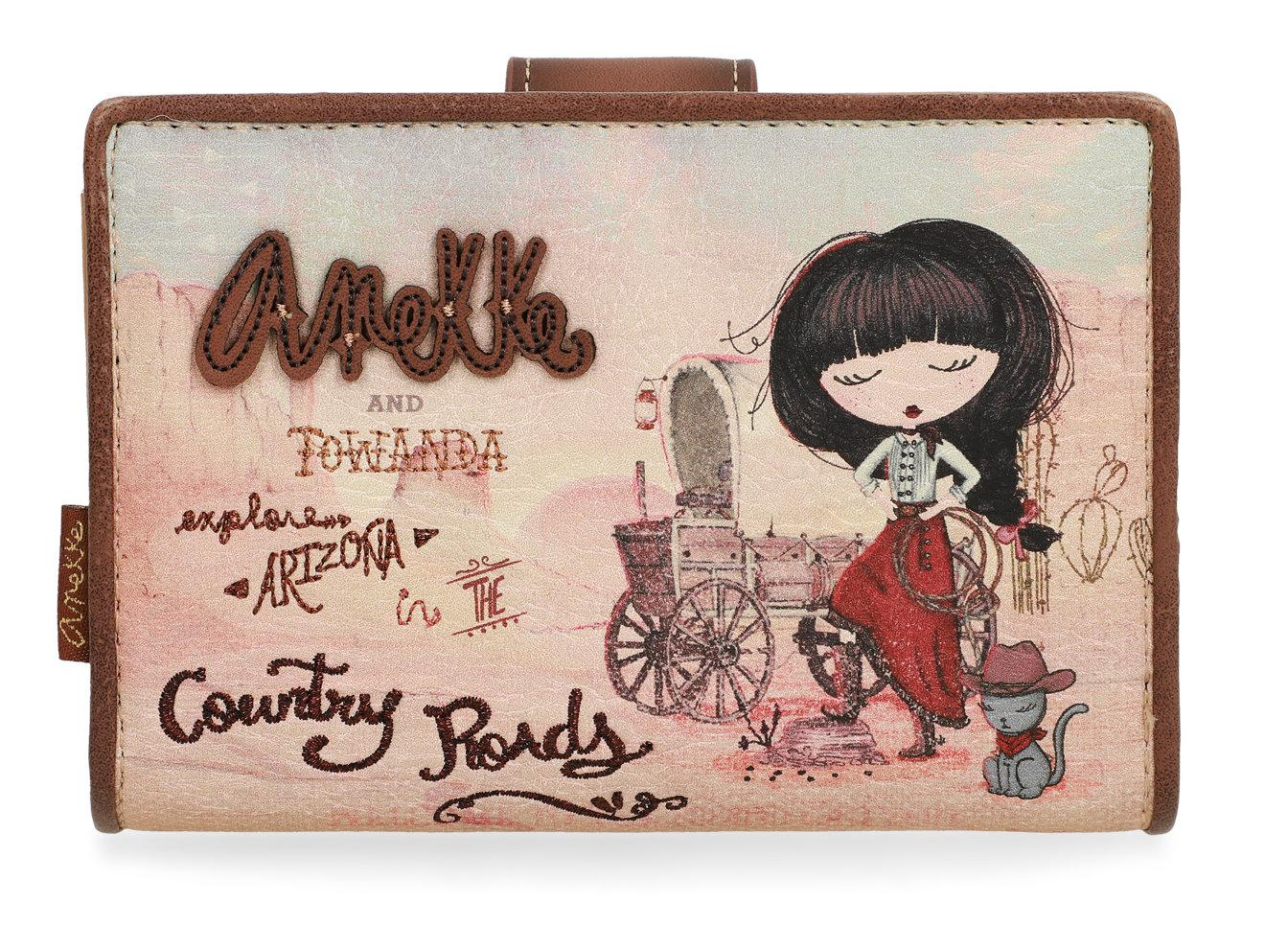 Anekke Geldtasche Arizona Cowgirl braun klappbar Country Roads