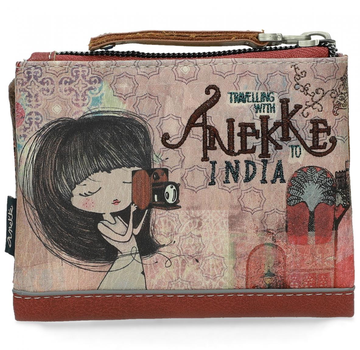 Anekke India Geldbeutel Mädchen mit Kamera bestickt rot