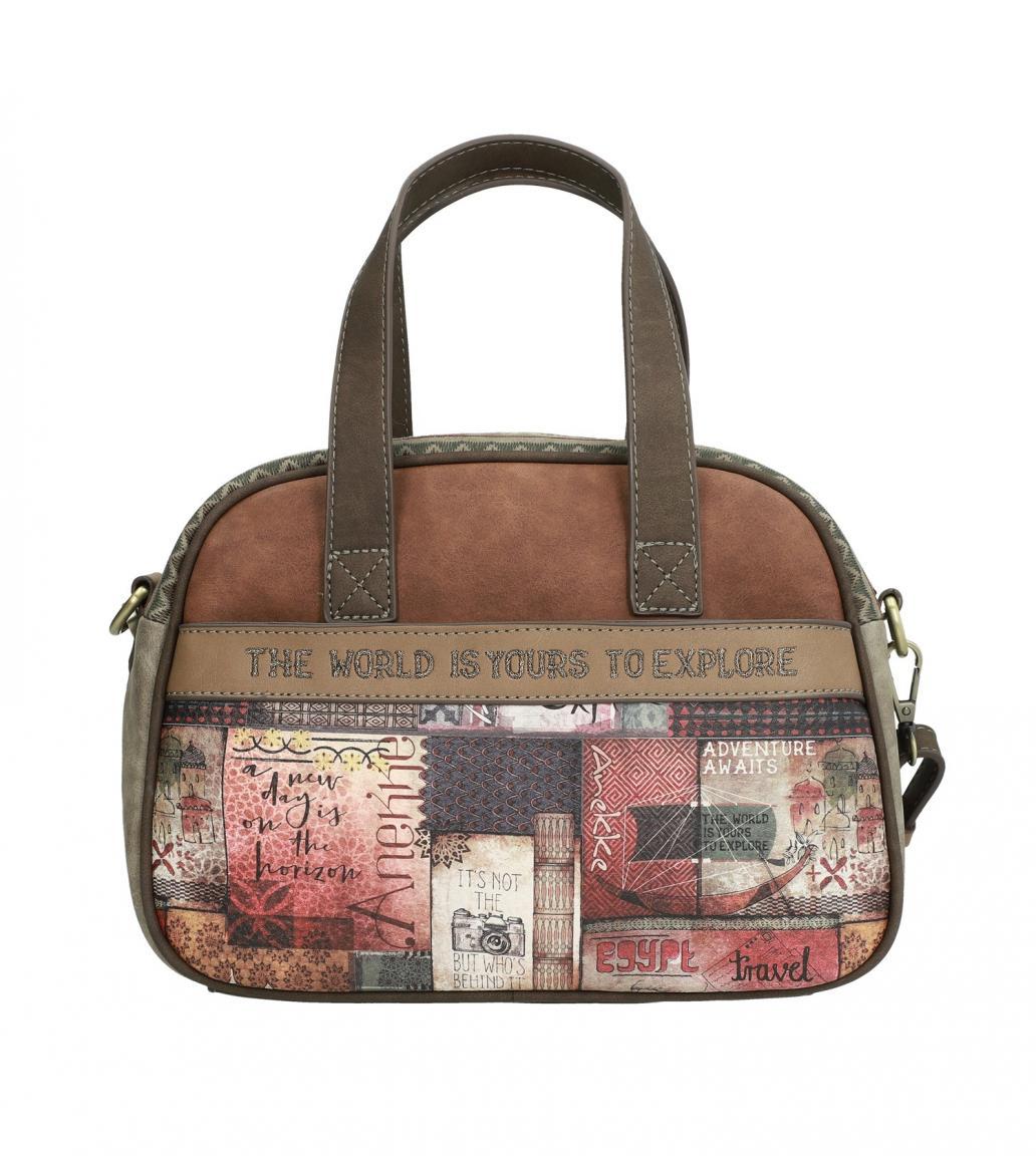 Anekke Kurzgrifftasche Marron braun Egypt Weltkugel