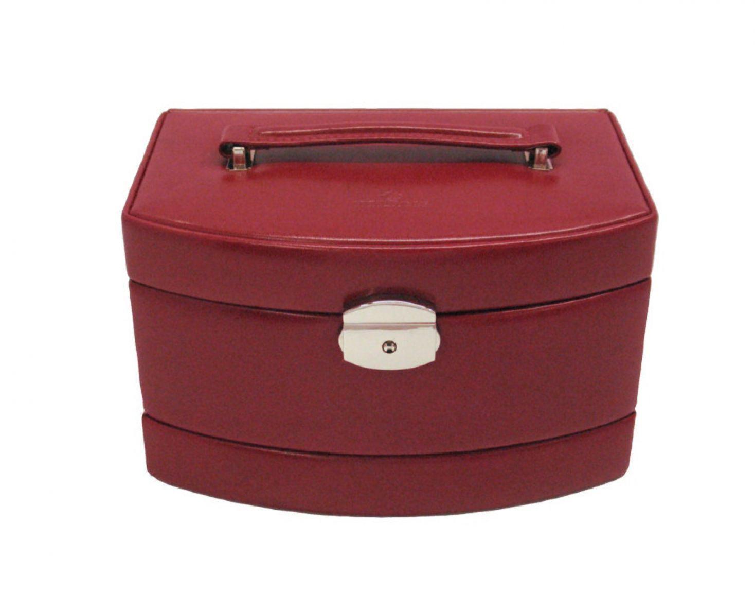 Automatik-Schmuckkoffer Windrose Merino rot groß