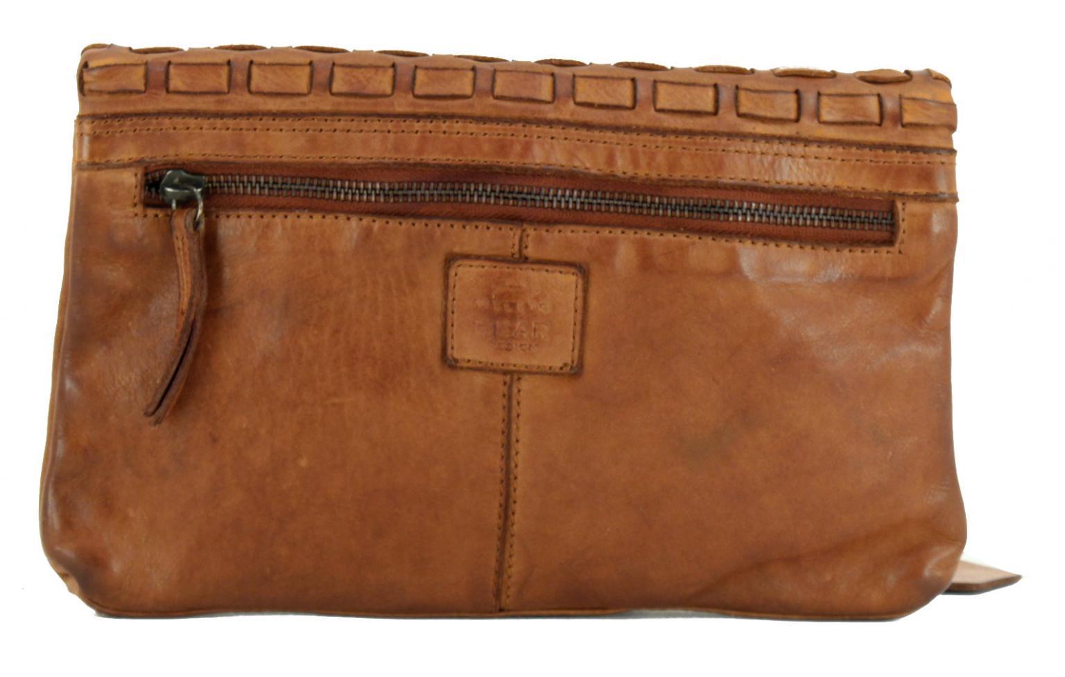 Bear Bags New Woven Cognac Clutch Vintage braun Weboptik