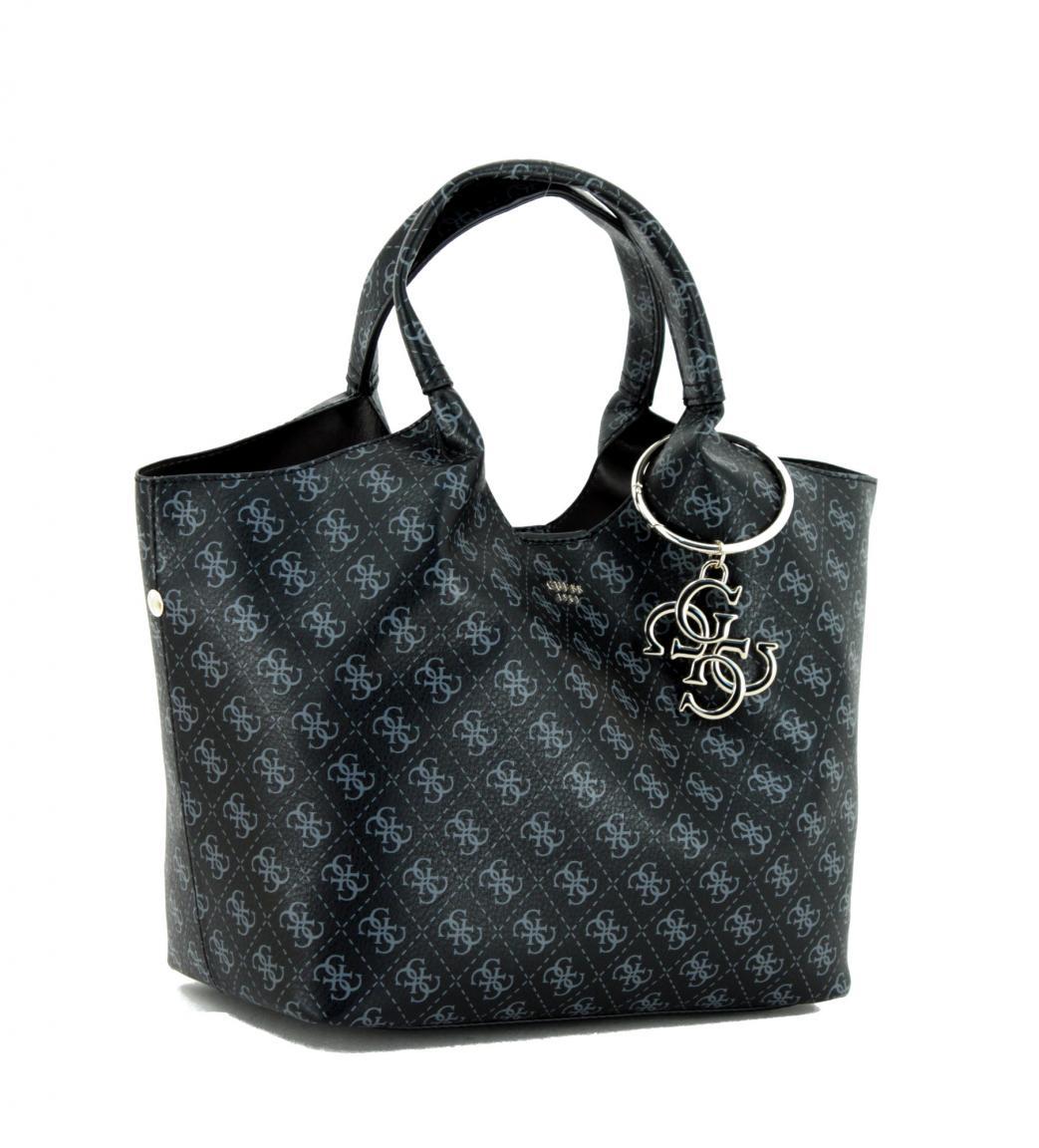 9dd586fcf8a72 Beuteltasche Guess Flora Black Logodruck schwarz grau - Bags   more