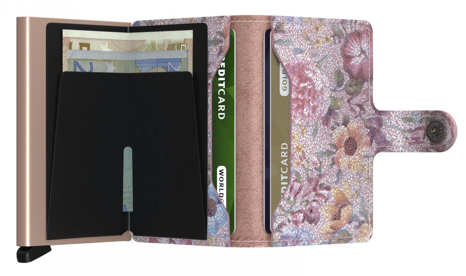 Börse mit Metalletui Miniwallet Secrid Crisple Rose Blumen