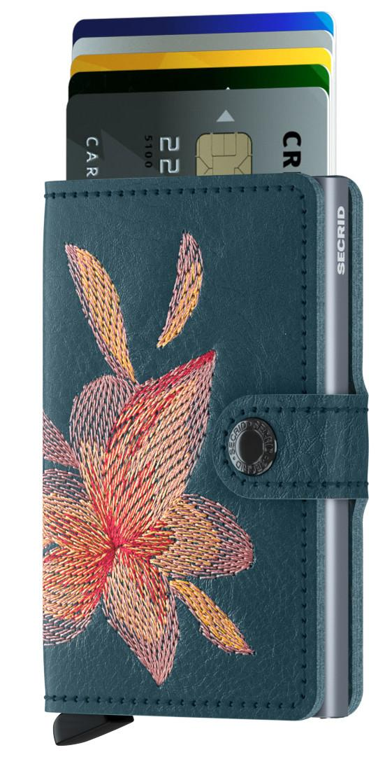 Chipkartenbörse Secrid Miniwallet Stitch Magnolia Petrol Blume