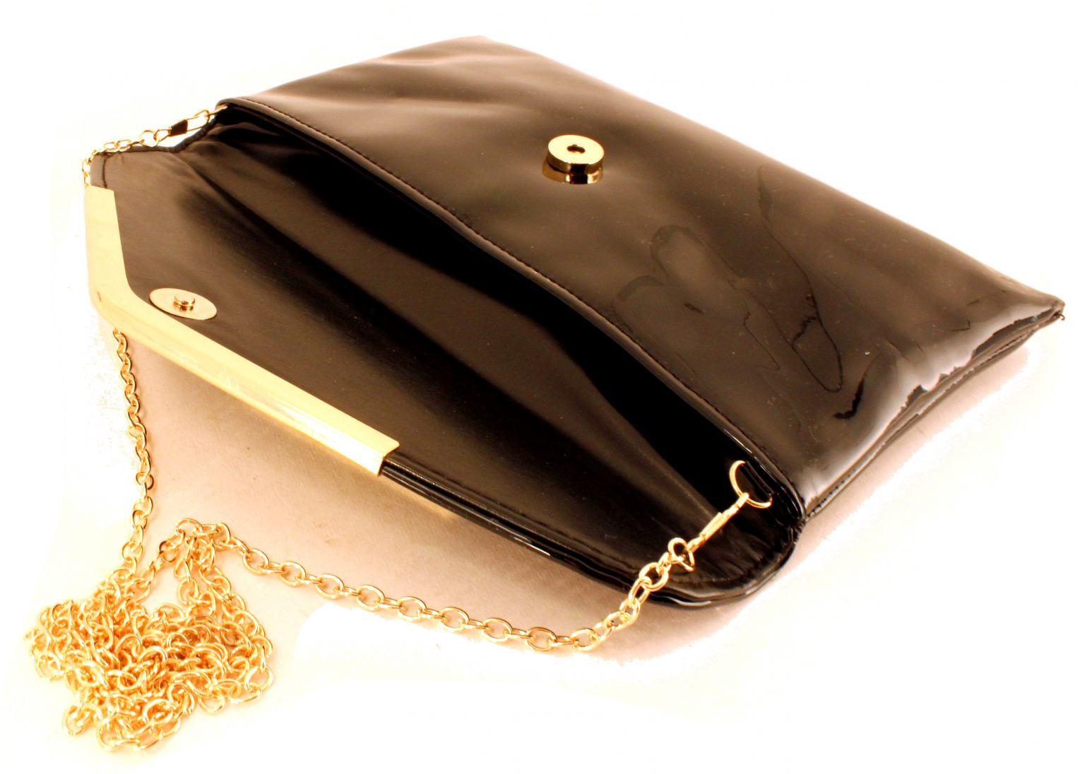 Clutch L. Credi Klara schwarz gold Kuvert glänzend Lack