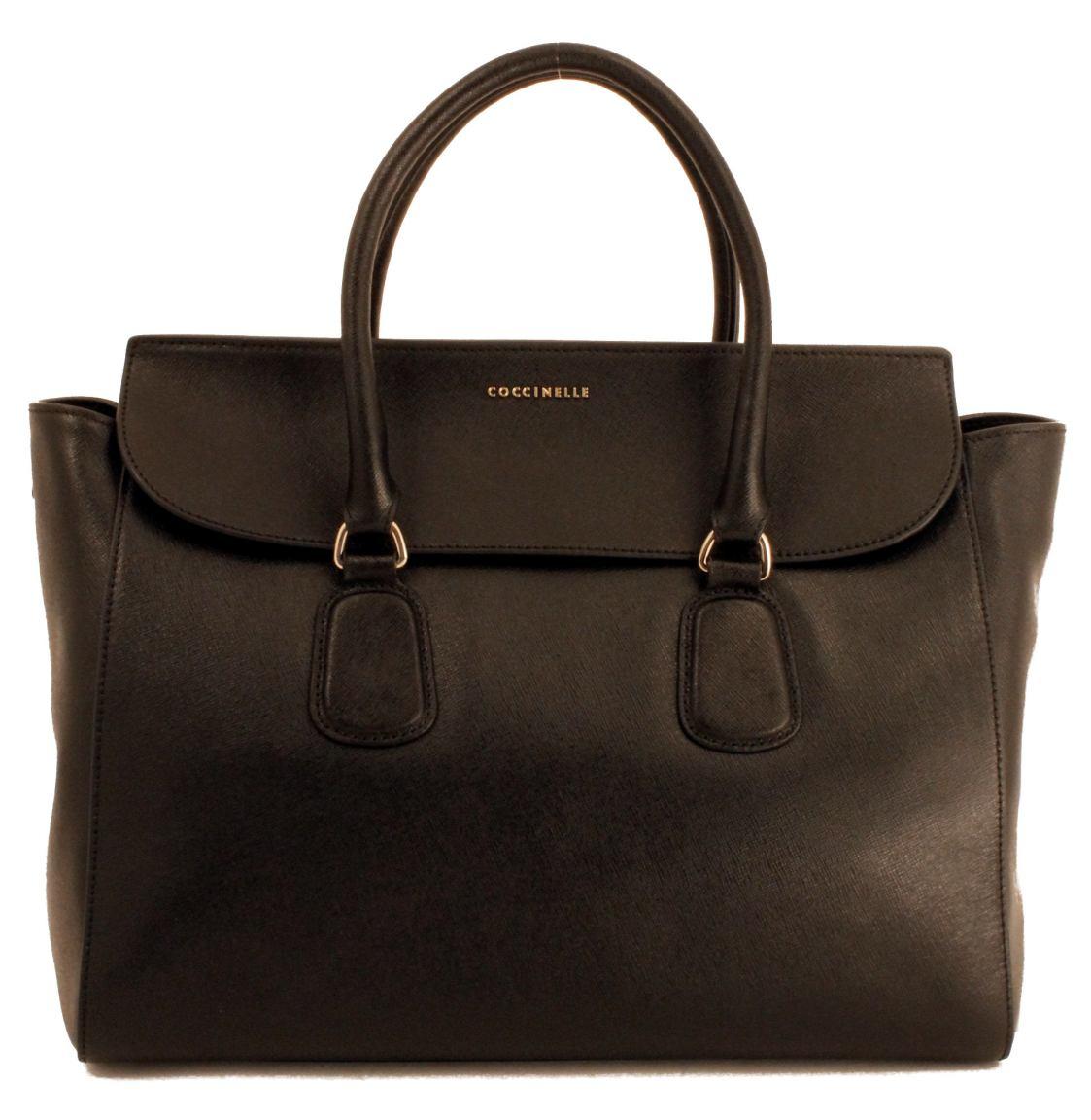 Coccinelle Kurzgrifftasche Überschlag Leder schwarz nero