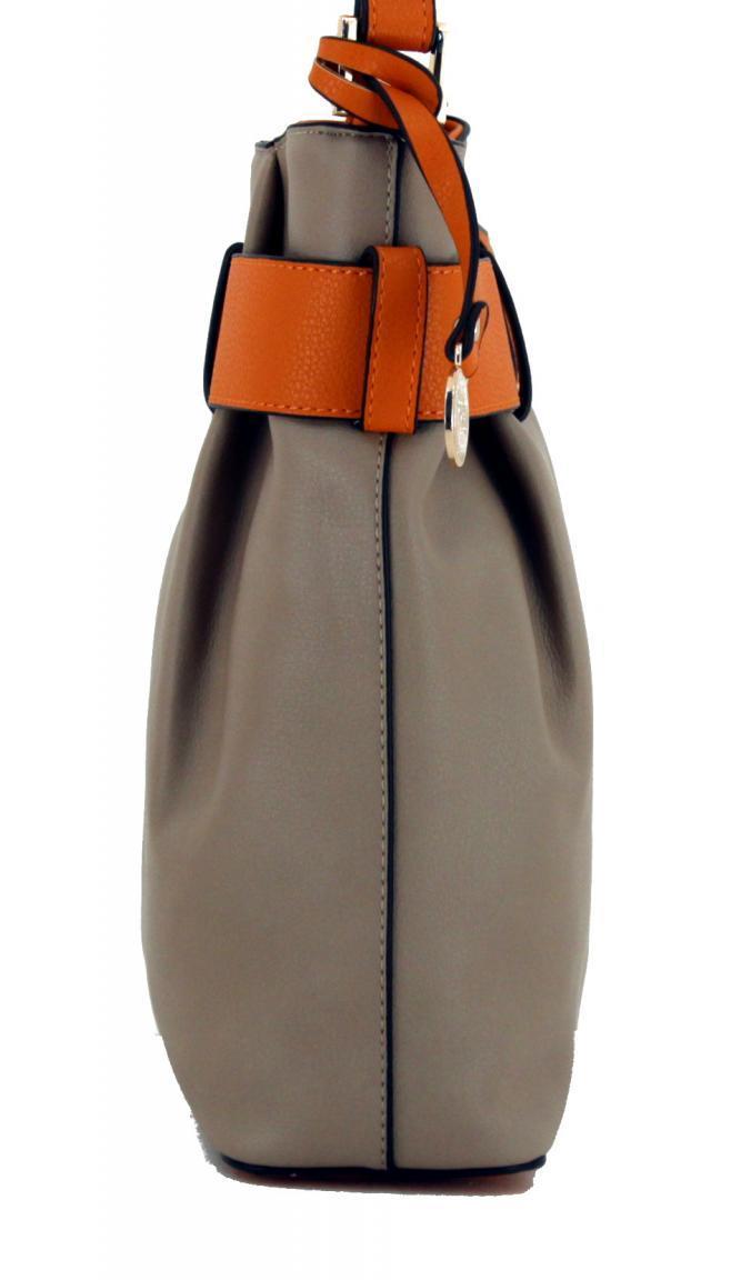 Crossover Tasche L.Credi Calla Taupe Zierschnalle beige orange