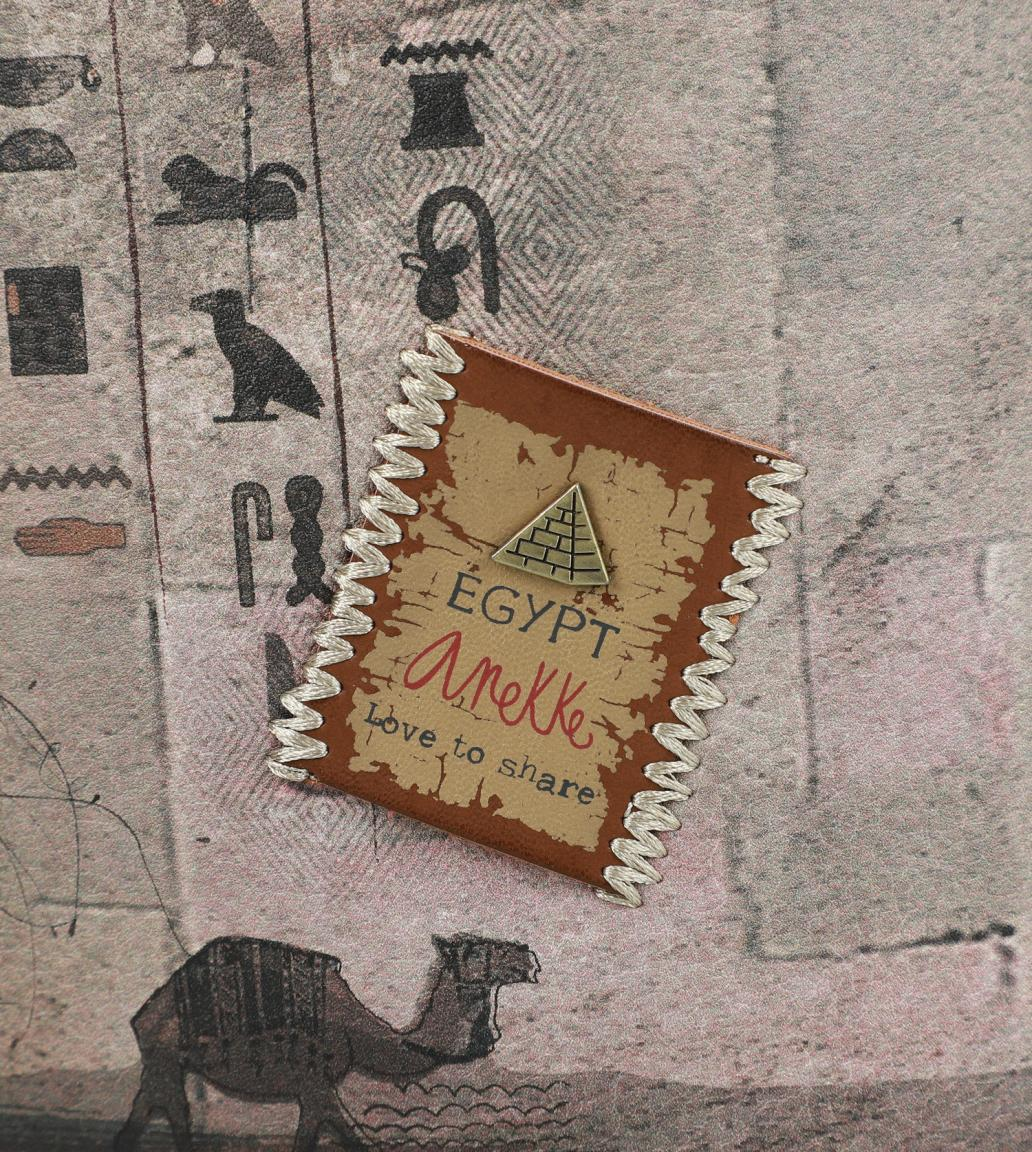 Crossovertasche Anekke Egypt bestickt Stickerei braun Pyramiden