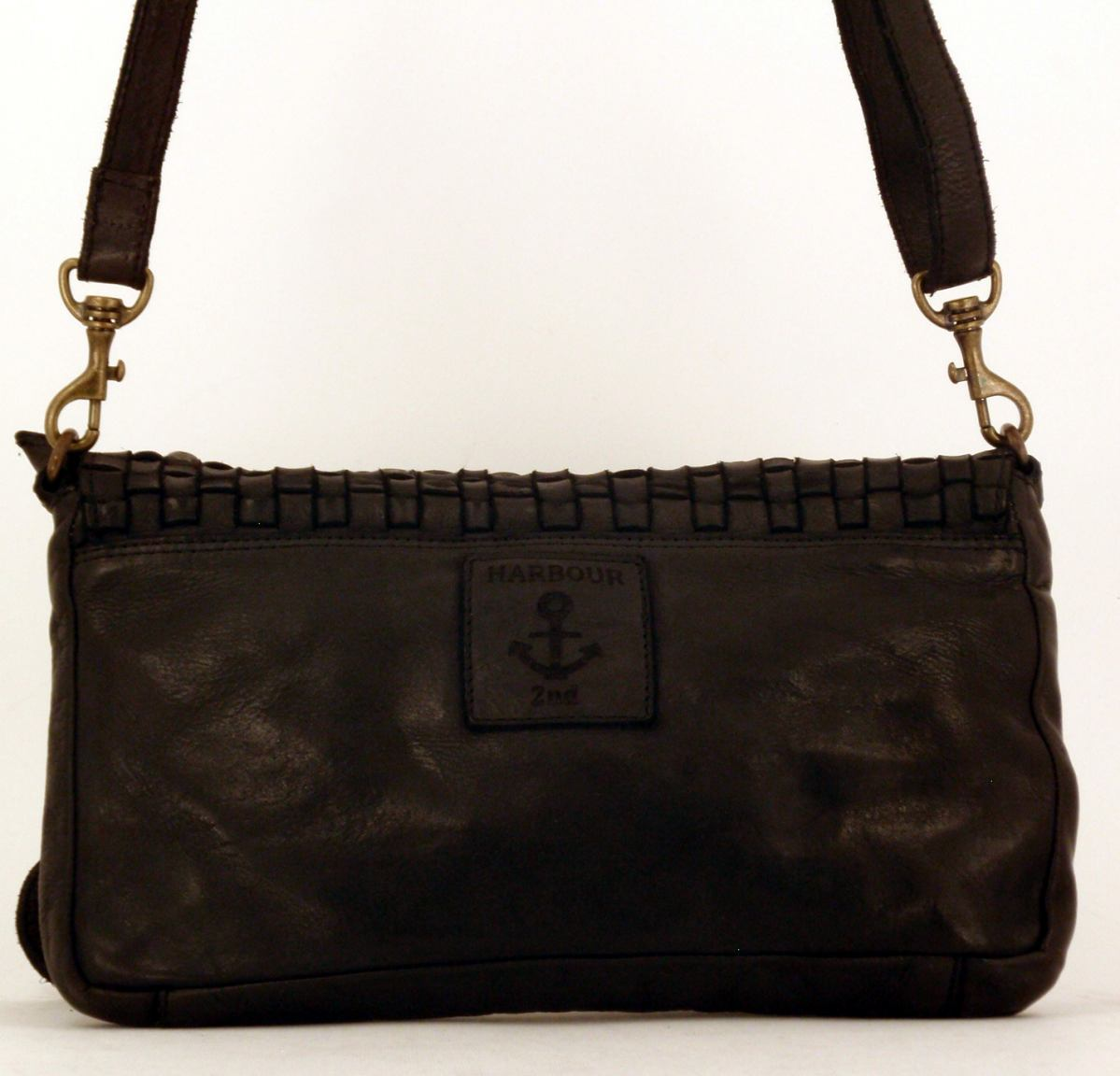Crossovertasche Harbour2nd Flecht Leder navy blau