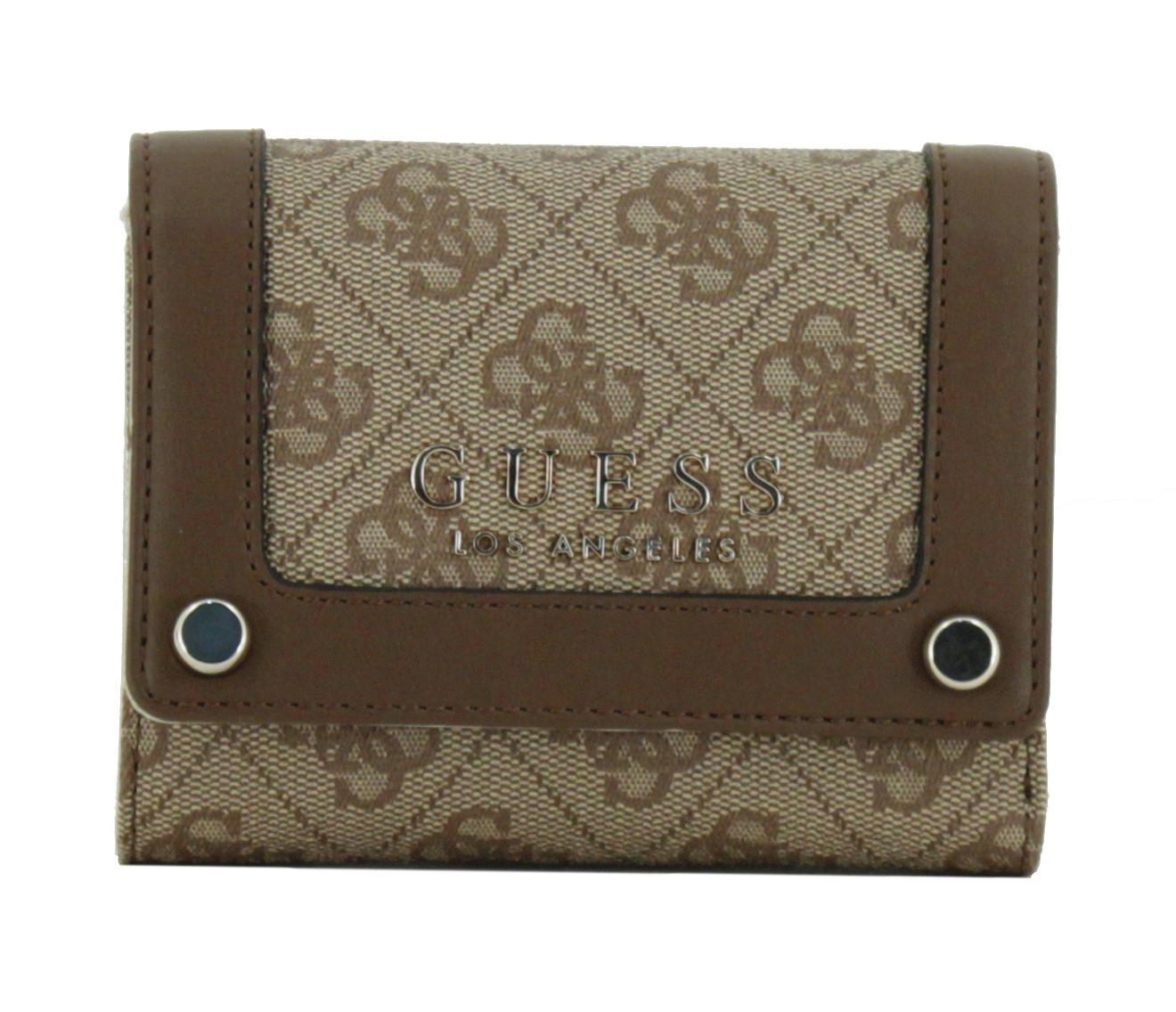 558710dd5277e Damenbörse Guess Florence Logodruck braun Überschlag - Bags   more