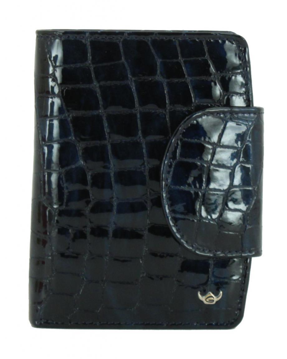 Damenbörse Golden Head Cayenne Kroko nachtblau Lackleder