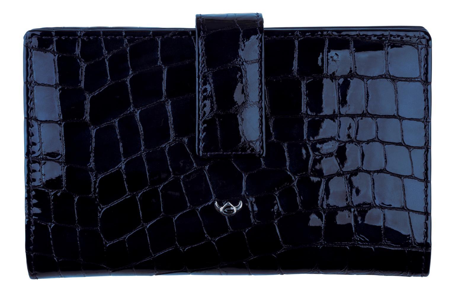 Damengeldbörse Golden Head Cayenne Kroko nachtblau