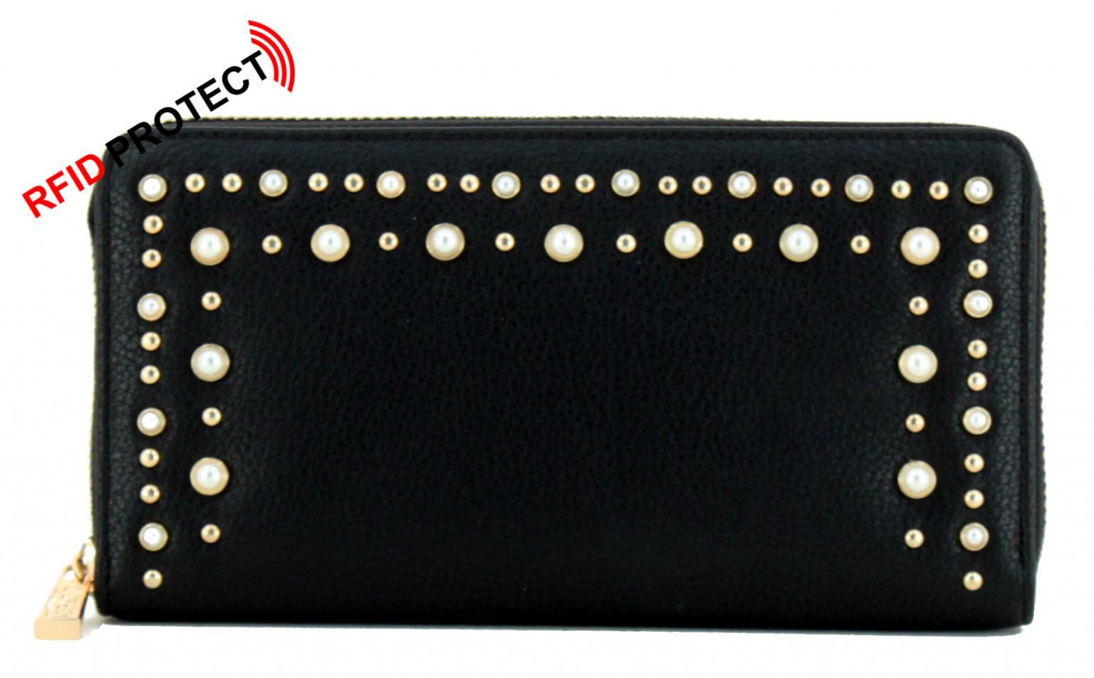 477357d7bfa14 Damenportemonnaie L.Credi Munich Bian schwarz Perlen Nieten - Bags ...
