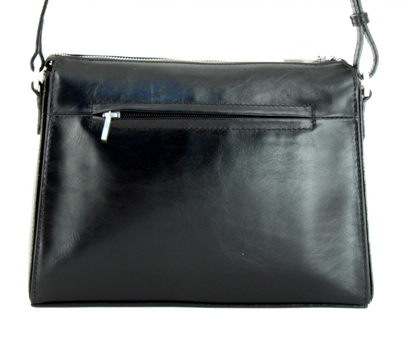 Damentasche Claudio Ferrici Zipper schwarz Glattleder