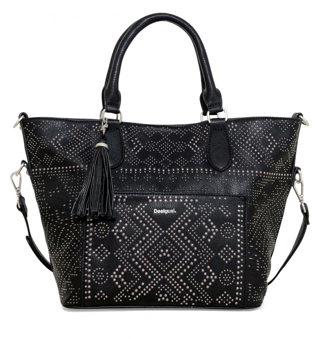 desigual florida crux shopper innentasche nieten schwarz bags more. Black Bedroom Furniture Sets. Home Design Ideas