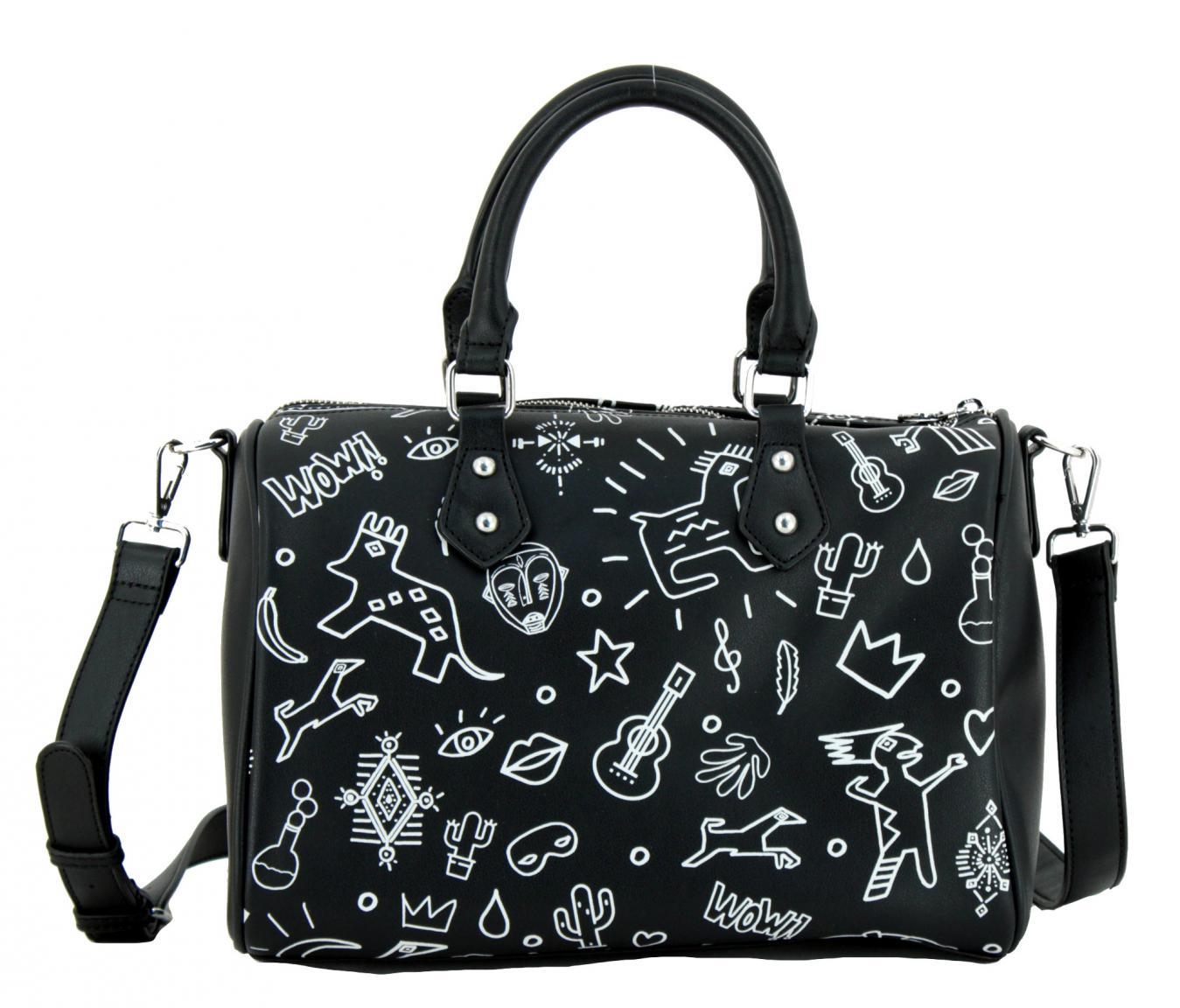 Desigual Bowling Bag Chula Zeichnung Schriftzug schwarz