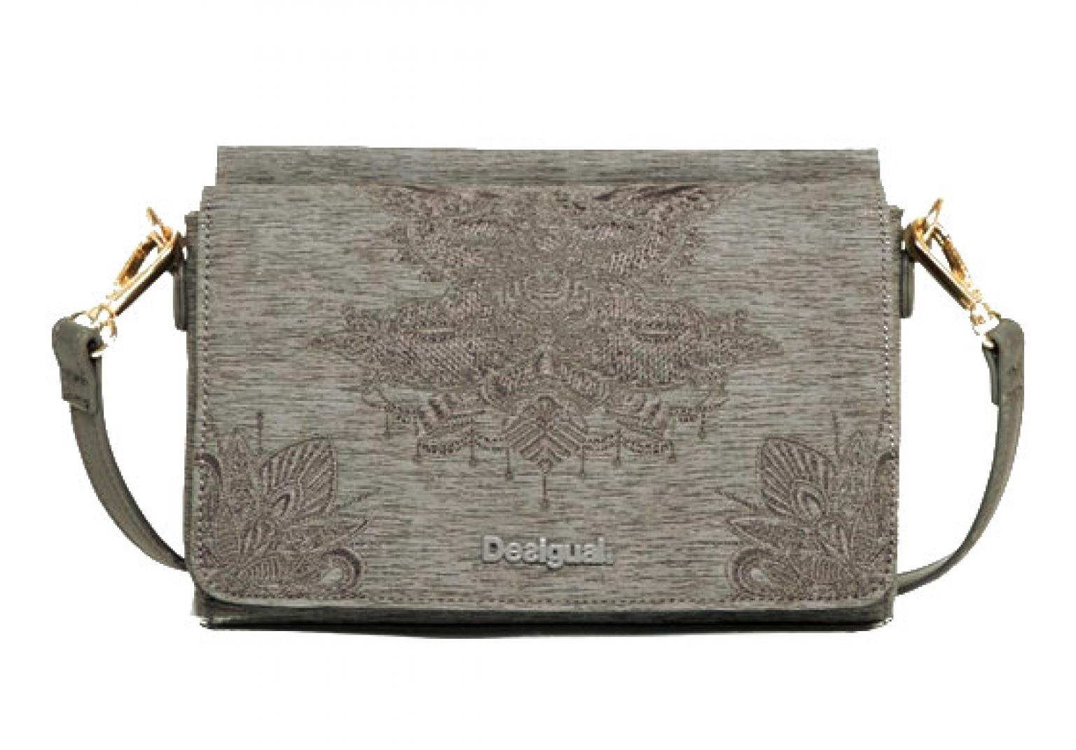 Desigual Clutch Umhängeriemen Dallas Soft Mendhi Stickerei Grau
