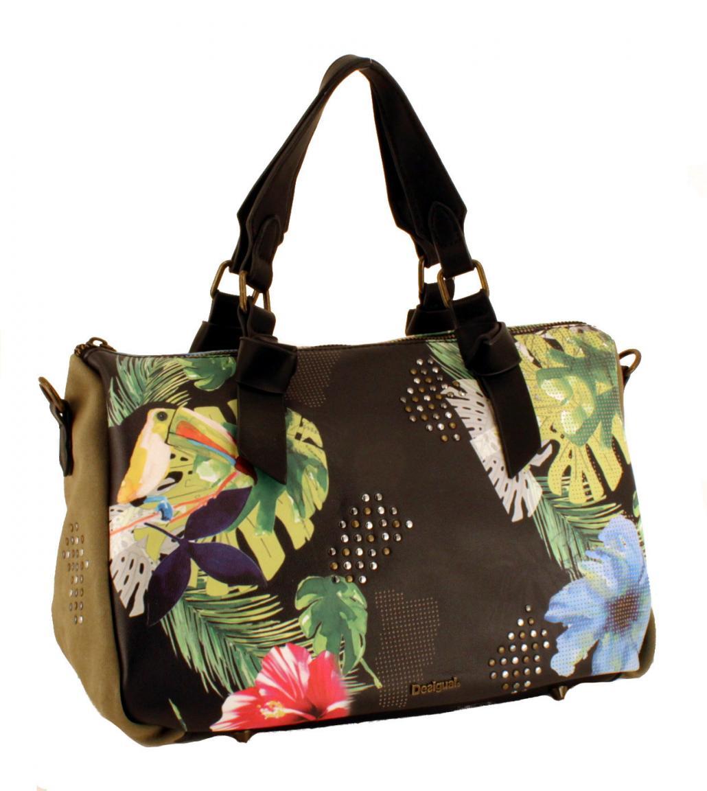 Desigual Henkeltasche Lilac Ginebra Kakadu Blumen bunt
