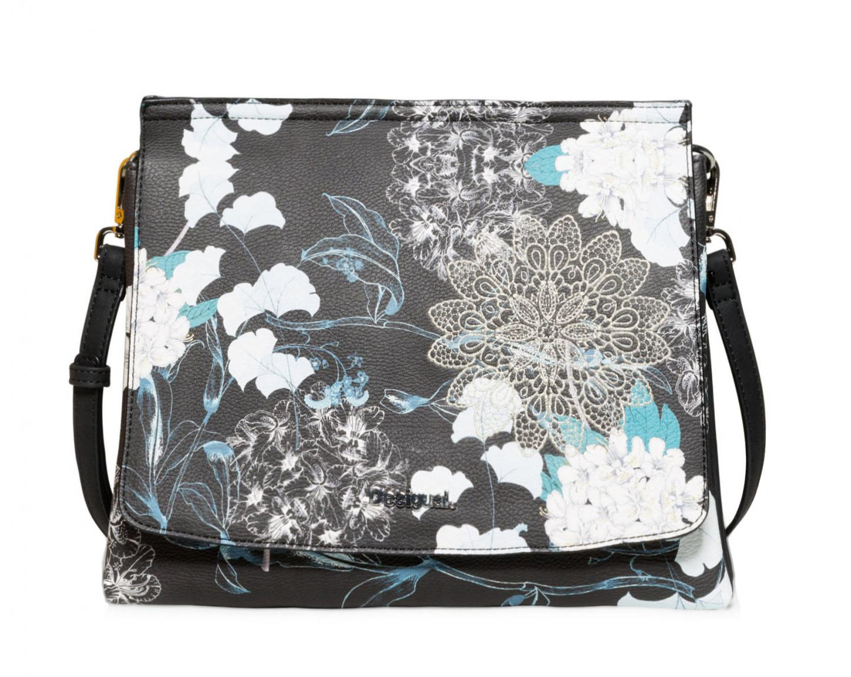Desigual Schultertasche Arcadia Amberes Blumen Stickerei blau