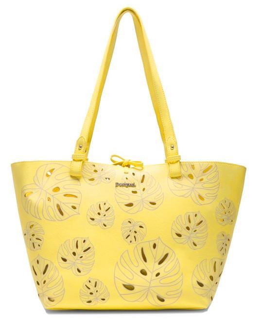 Desigual Schultertasche Attalea Capri gelb Blätter
