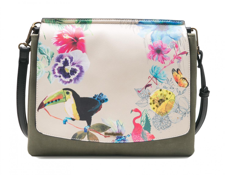 Desigual Schultertasche Bols Lilac Amberes grün Blumen Vögel