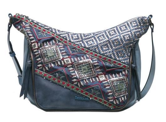 Desigual Somalia Crossover Tasche bestickt Pailletten blau