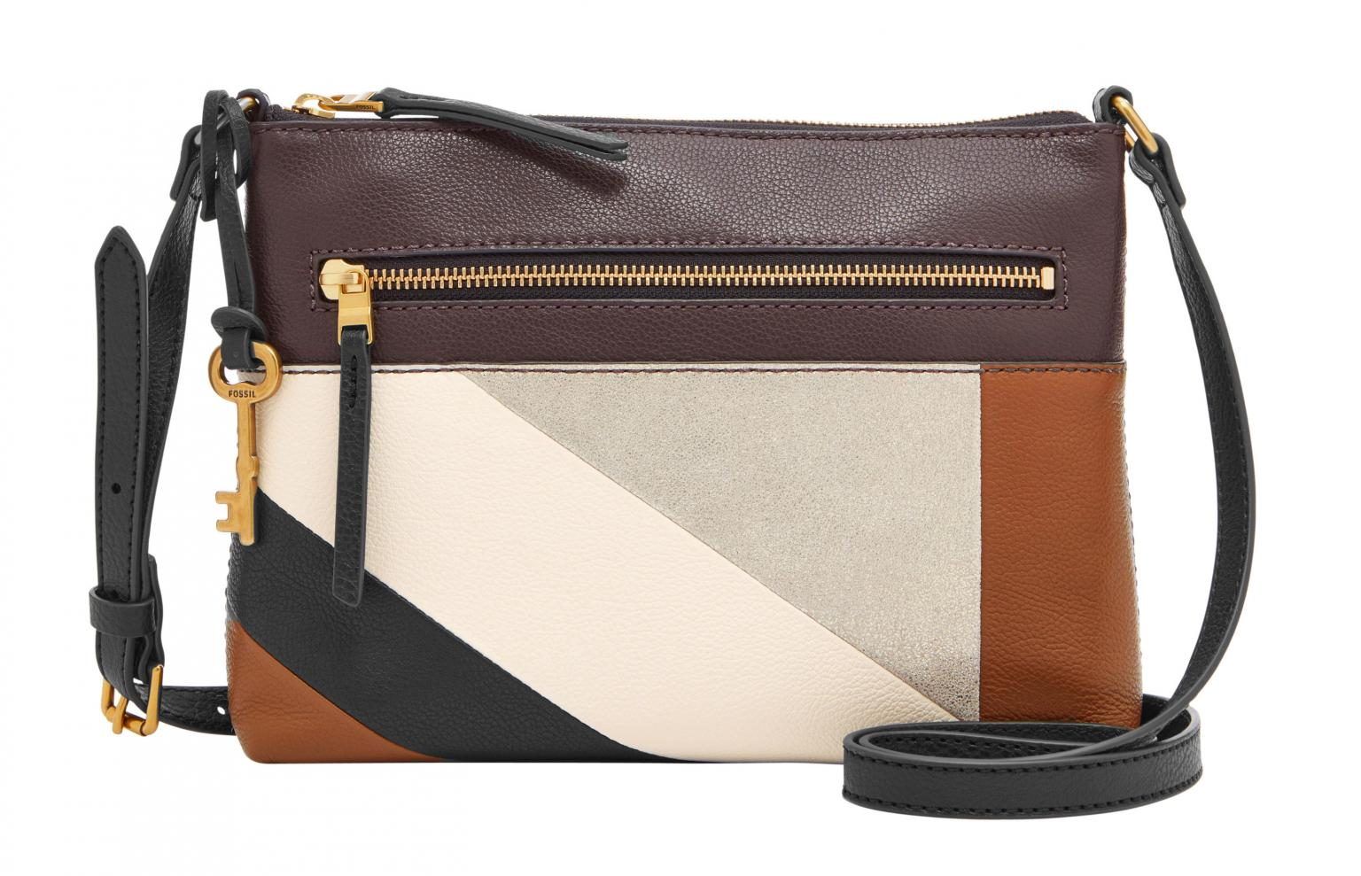 Fossil Seite 2 Bags More Keely Tote Canvas Crossovertasche Fiona Small Neutral Stripe Braun Gold