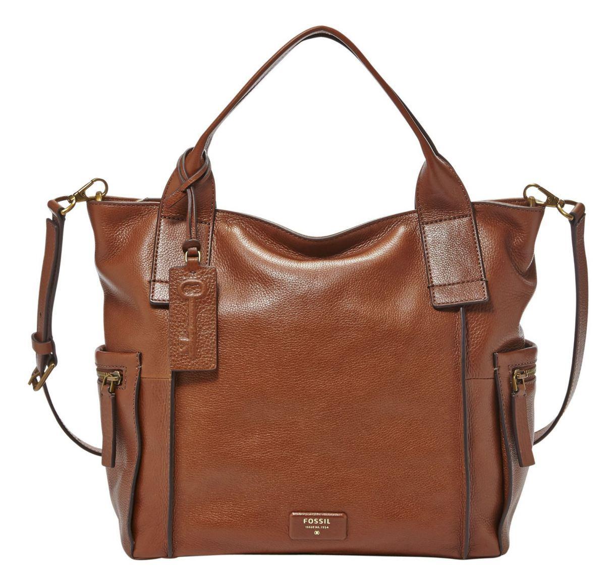 fossil emerson satchel handtasche leder braun bags more. Black Bedroom Furniture Sets. Home Design Ideas