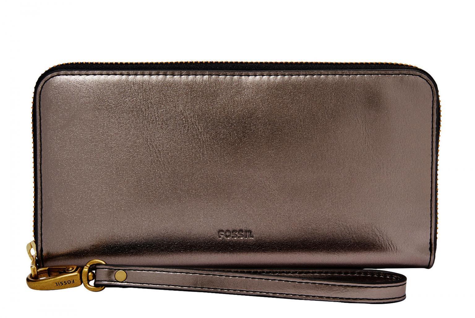bb01ffb7f5489 Fossil Emma Large RFID Protection Geldbörse anthrazit silber - Bags ...