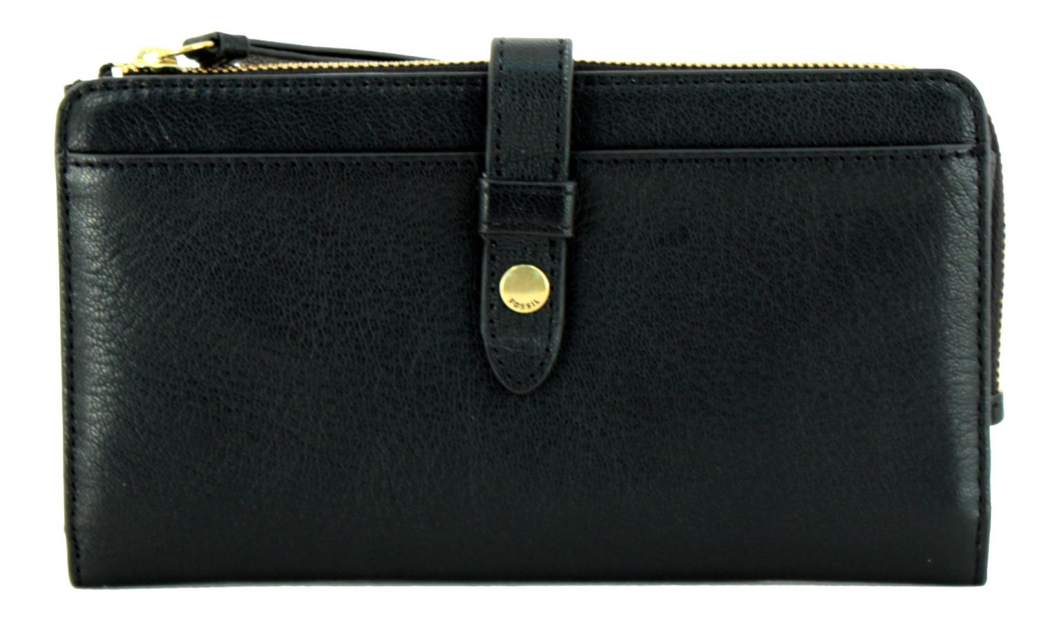 Preis vergleichen Bestbewertete Mode beste Wahl Fossil Portmonee Geldbörse Fiona Clutch Leder schwarz