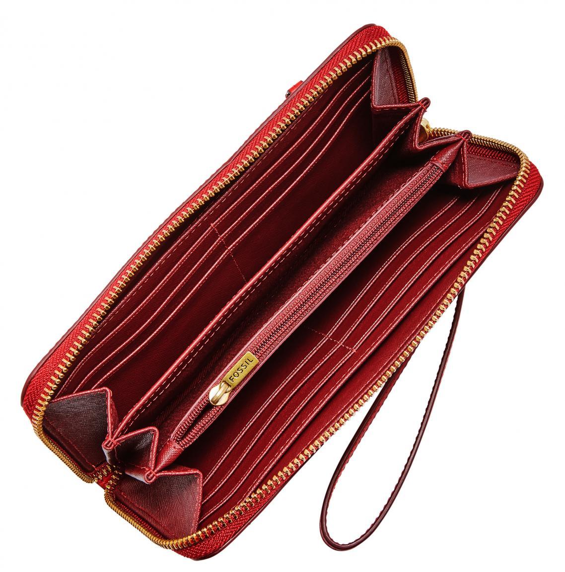 Fossil Emma Large RFID Protection Lederbörse Red Velvet Rot