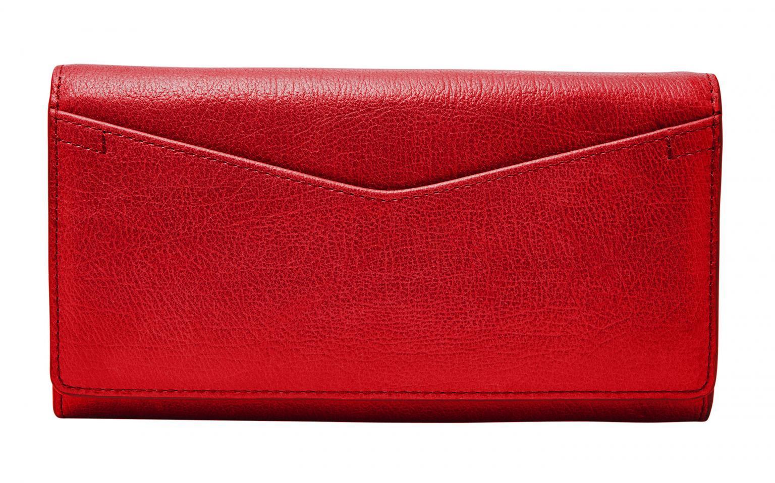 Fossil Geldbörse Überschlag RFID Caroline Red Velvet Rot