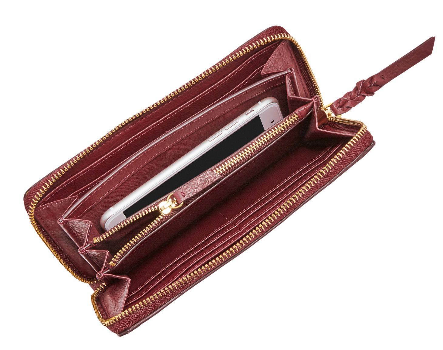 Fossil Geldtasche Caroline Zip RFID Cabernet Rot Bronze