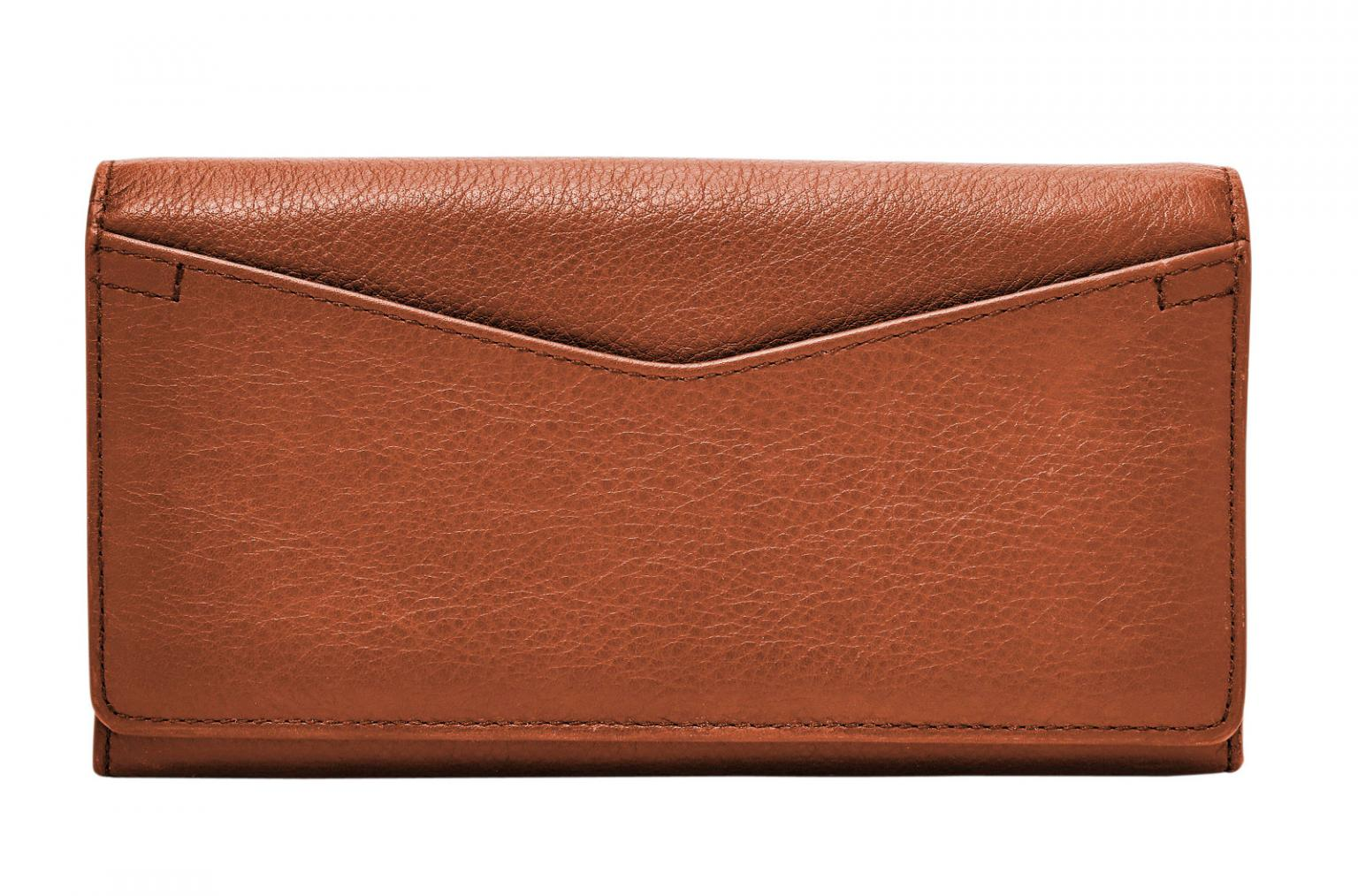 Fossil Lederbörse Überschlag RFID Caroline brown braun