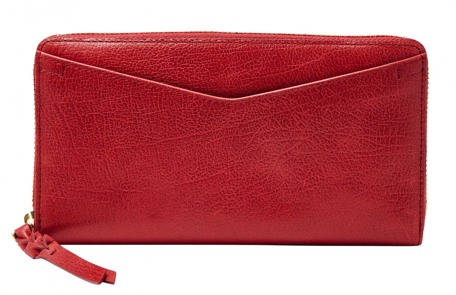 Fossil Longbörse Caroline Zip RFID Red Velvet Rot