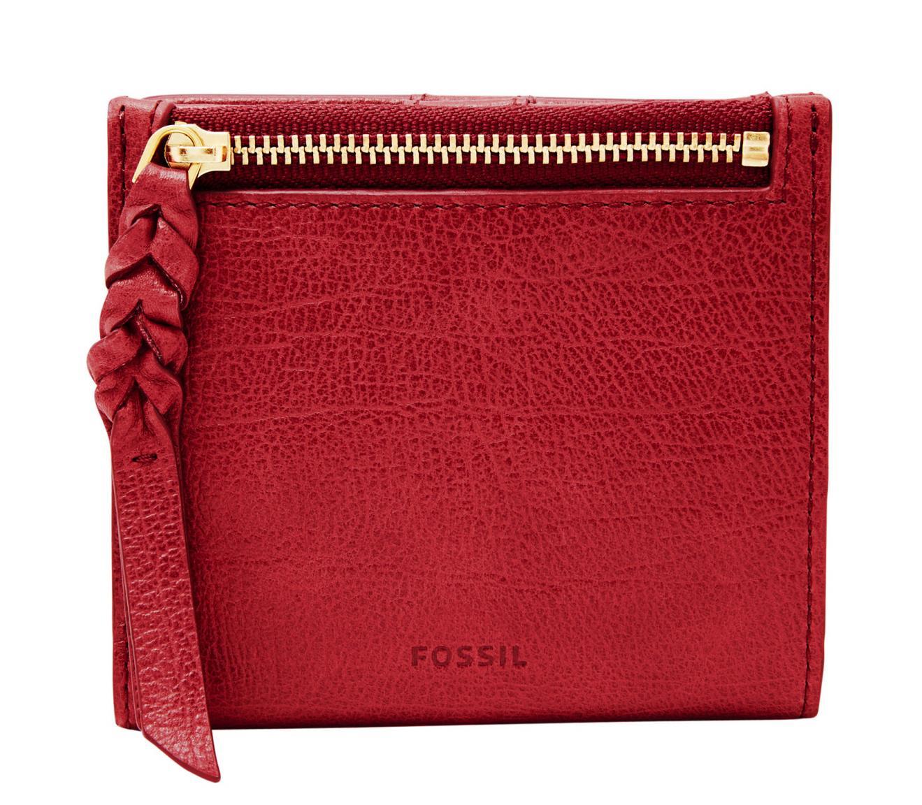 Fossil Portmonee RFID Caroline Mini Red Velvet Rot