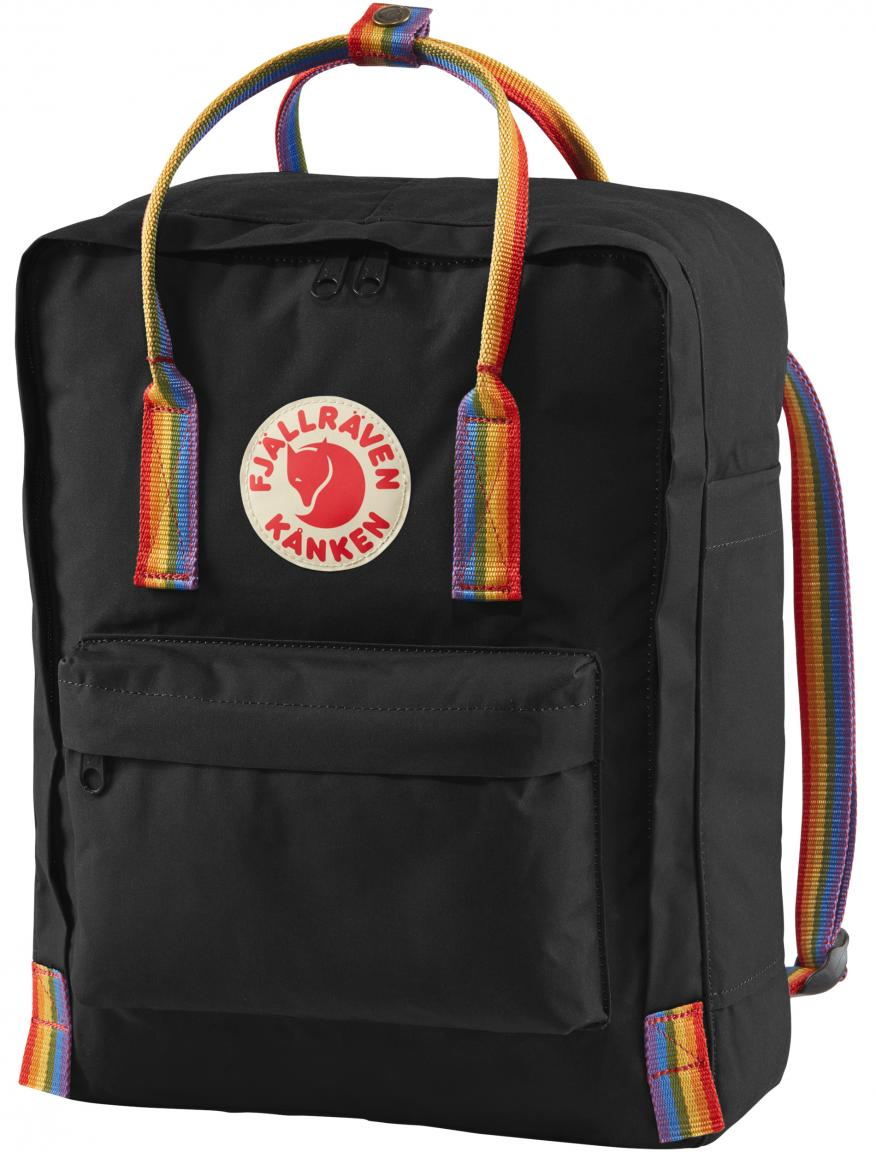 Freizeitrucksack Fjällräven Kanken Rainbow schwarz bunte Träger