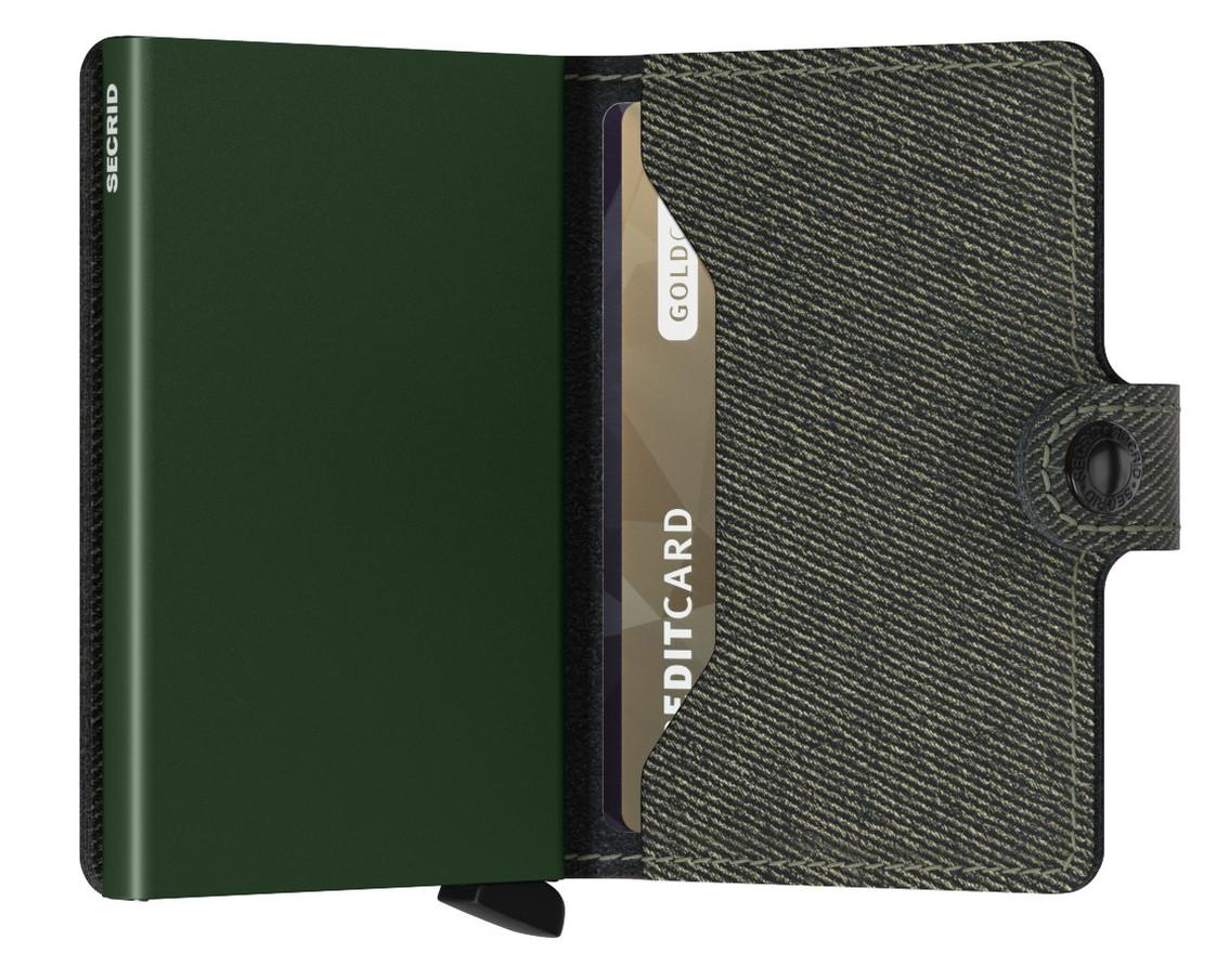 Geldbörse Miniwallet Twist Green RFID-Schutz Köperoptik dunkelgrün