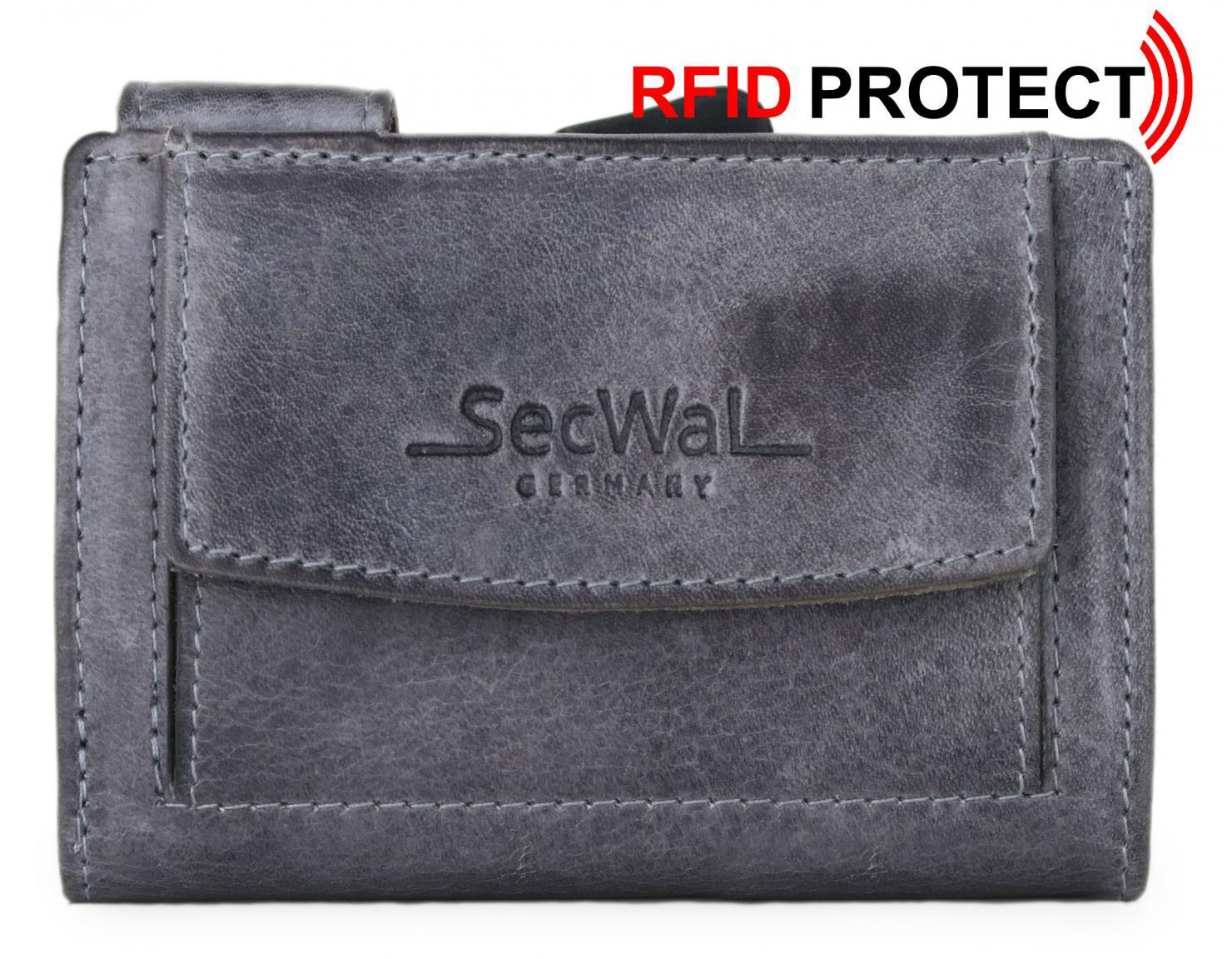 Geldbörse SecWal RFID-Schutzhülle Vintage grau Druckknopf