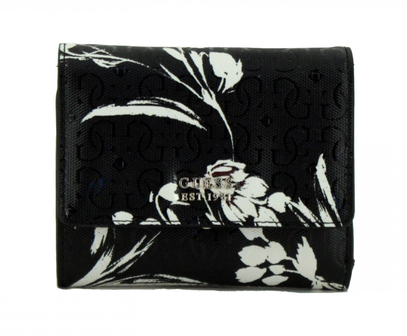 Geldtäschchen Guess Tamra Black Floral geprägt Blumen schwarz