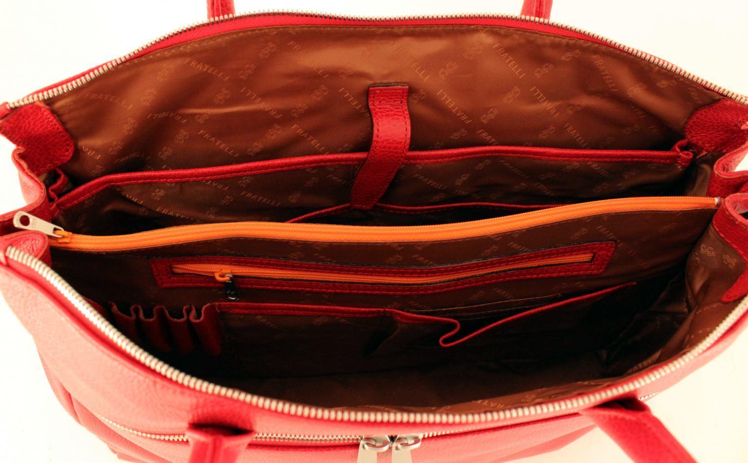 GiGi Fratelli Damen Aktentasche mit Notebookfach Leder Smoke Gra